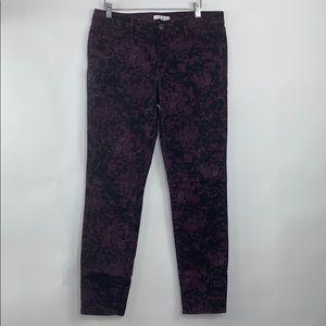 Cabi Purple print skinny stretch jeans, size 8